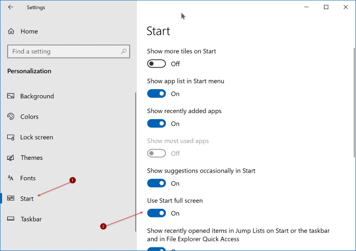 enable full screen start menu in Windows 10
