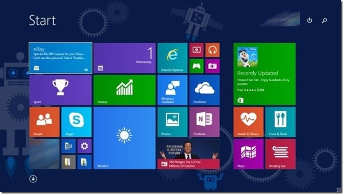 Toggle Start menu start screen
