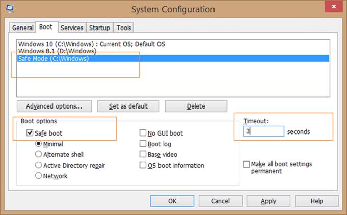 Add safe mode to Windows 10 boot menu step3