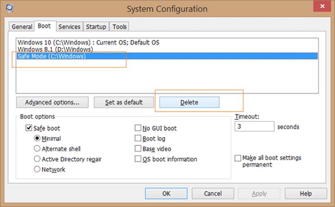 Add safe mode to Windows 10 boot menu step5