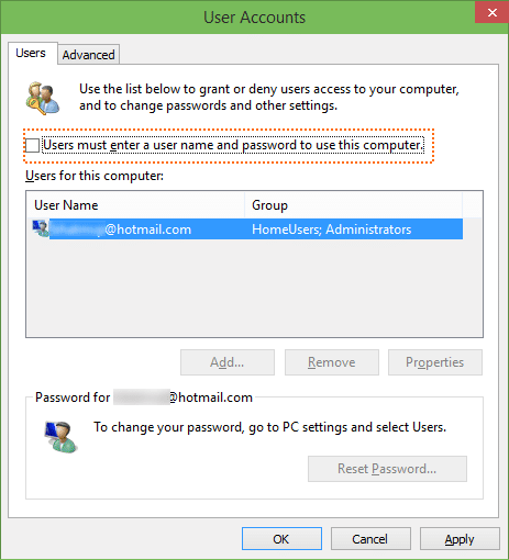 Automaticlly login in Windows 10 step2