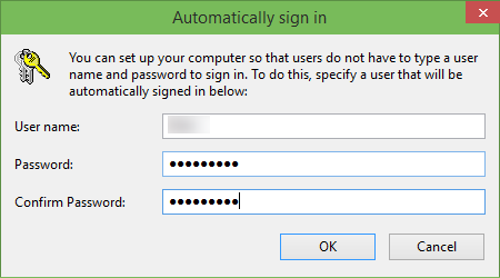 Automaticlly login in Windows 10 step3