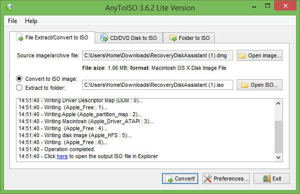 Convert DMG to ISO in Windows for free