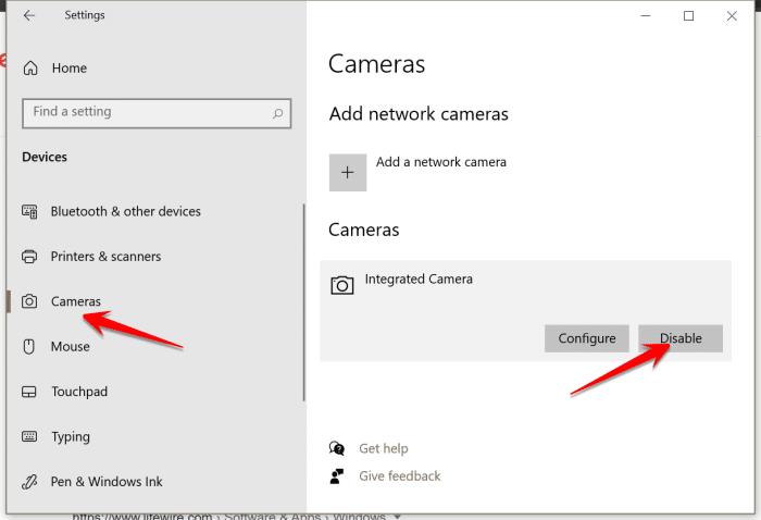 Disable camera in Windows 10