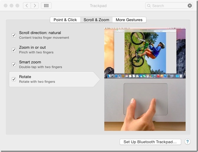 Disable or enable Mac trackpad gestures pic1