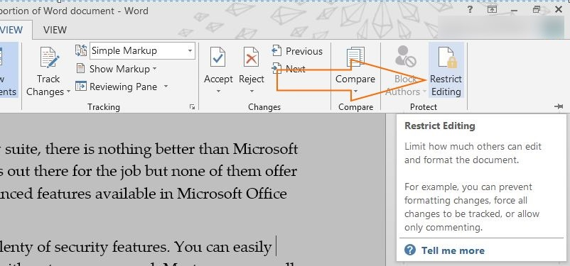how to unrestrict a word document 2013