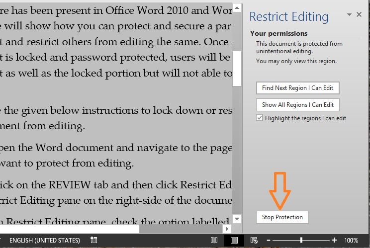 Lock a part of Word document step5