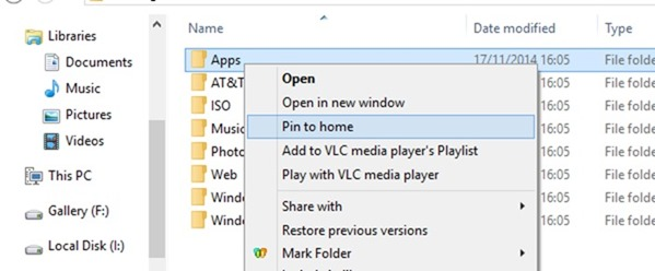Pin folders to Home in Windows 10 step1