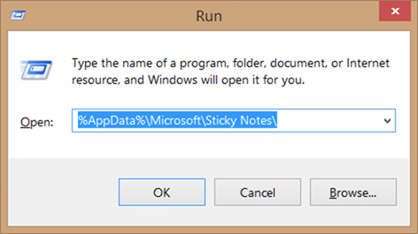 Recover deleted sticky notes in Windows step1