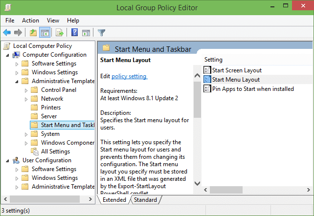 Restricting Start menu layout in Windows 10 step2