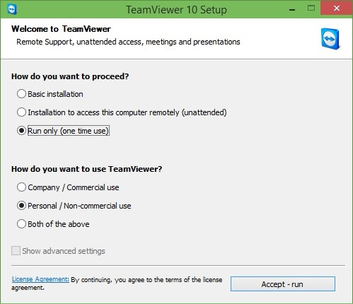 Use TeamViewer without installation in Windows
