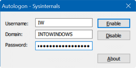 automatically login in Windows 10