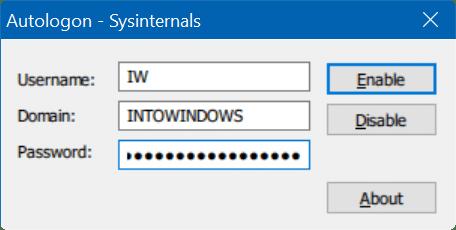 automatically login in Windows 10