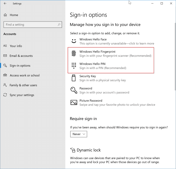 enable automatic sign in Windows 10
