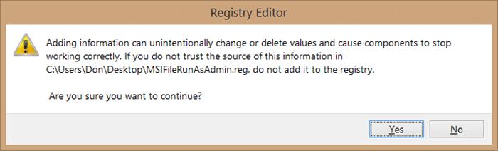 Add Run as administrator to MSI files