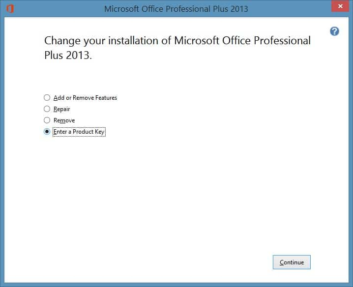 Change or update product key of Office 2013 step2