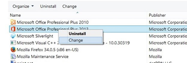 Change or update product key of Office 2013