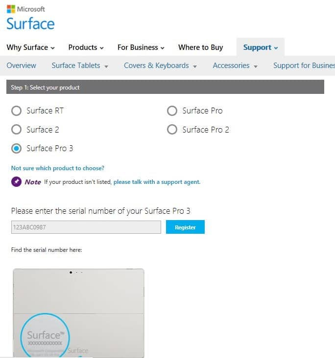 surface pro 3 keyboard serial number