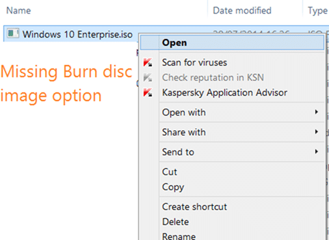 Fix to missing burn disc image option in context menu