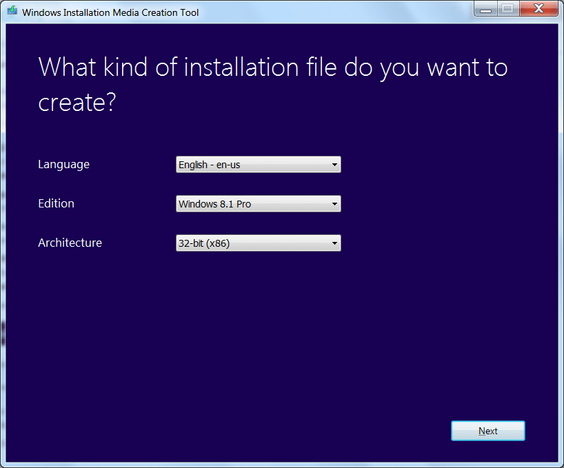 Windows media creation tool for Windows 7