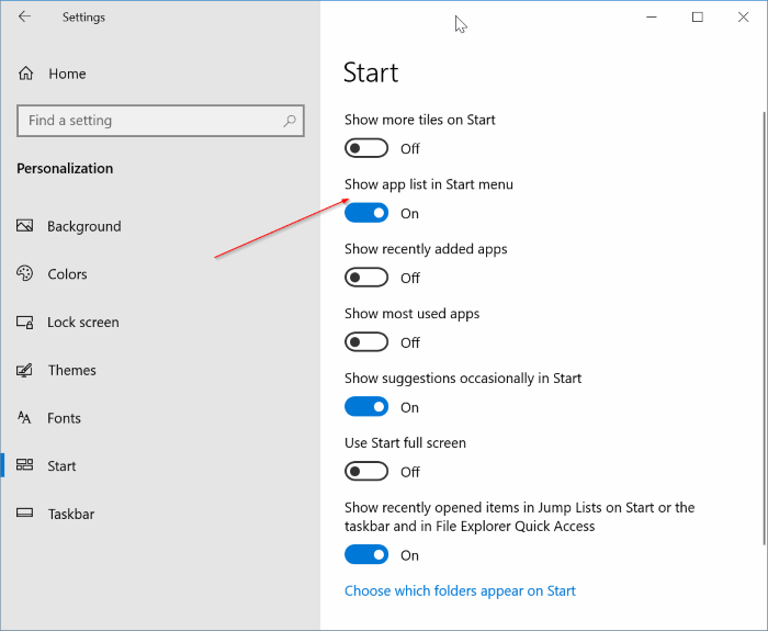 show all programs by default in Windows 10 Start menu pic1