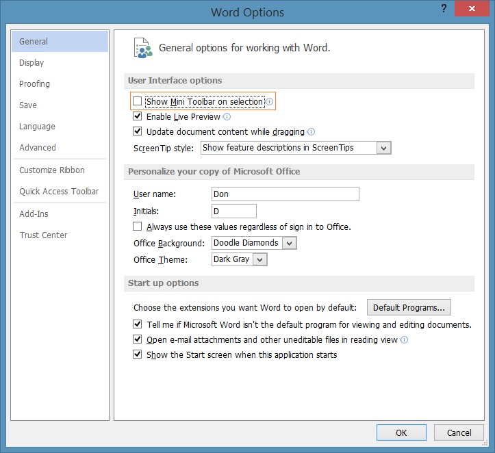 Disable mini toolbar on selection in Office 2013 program