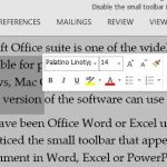 Disable The Mini Toolbar (On Selection) In Microsoft Office Word
