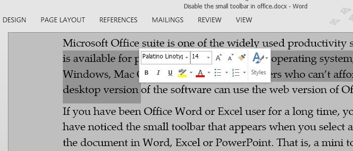 Disable mini toolbar on selection in Office 2013
