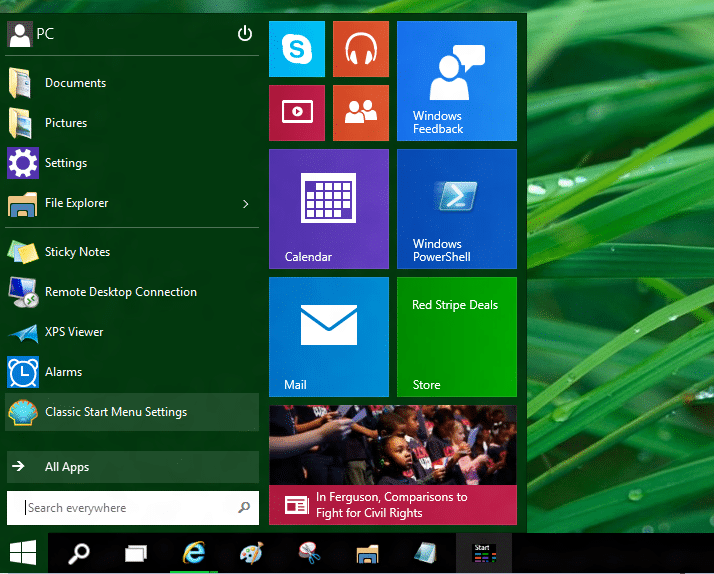 Use old and new Start menu together in Windows 10 OS