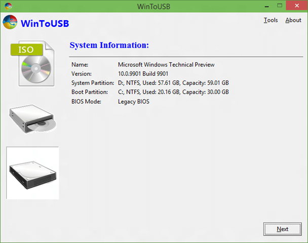 clone Windows 10 installation to USB and make it bootable step4