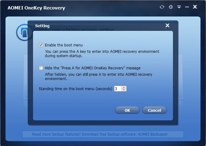 dedicated recovery partition Windows 10