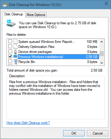 Delete Windows.old folder in Windows 10 step6