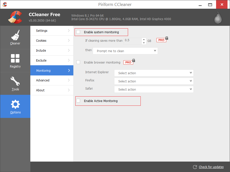 Disable CCleaner Alert Popup in Windows