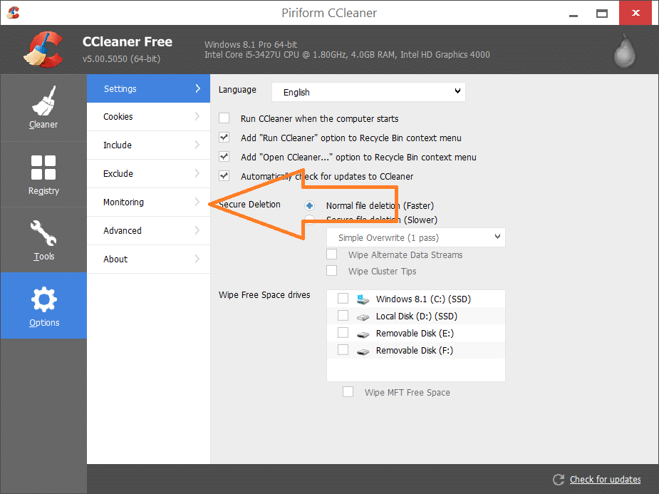 Disable CCleaner Alert Popup
