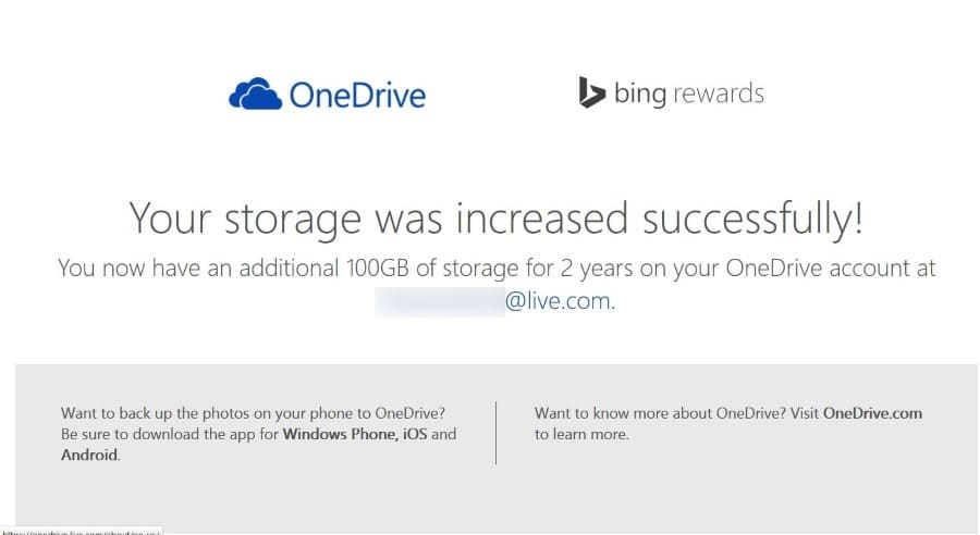 Free 100 GB of OneDrive storage worldwide