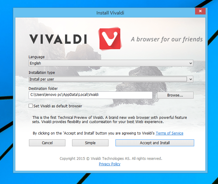 Install Vivaldi browser in Windows os
