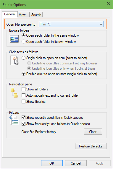Make File Explorer to open This PC Windows 10 step3