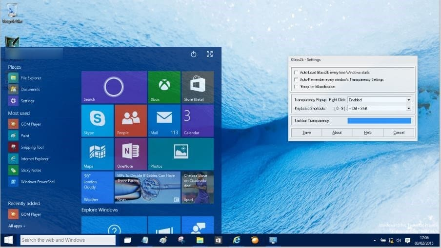 Make Start Menu Transparent in Windows 10