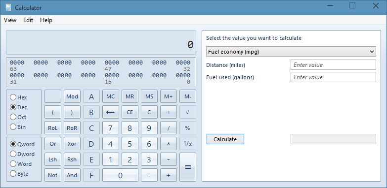 Get Windows 7 Like Classic Calculator In Windows 10