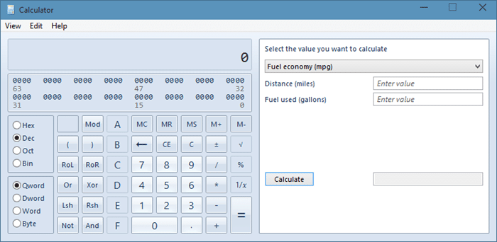 Old Calculator in Windows 10 picture1