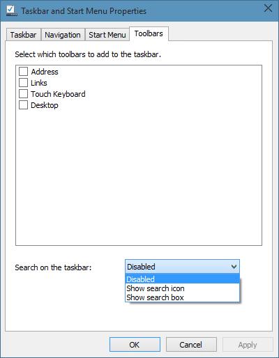 Remove Search Box From Windows 10 Taskbar step3