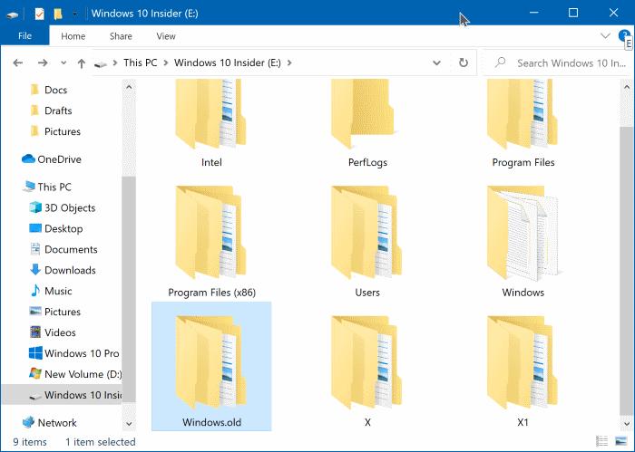 delete windows.old folder in Windows 10