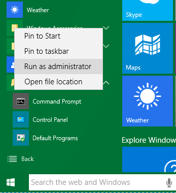 command prompt admin on windows 10