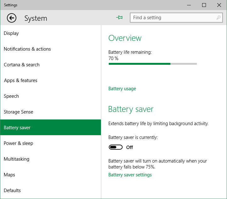 Battery Saver Windows 10 Enable or Disable Picture2