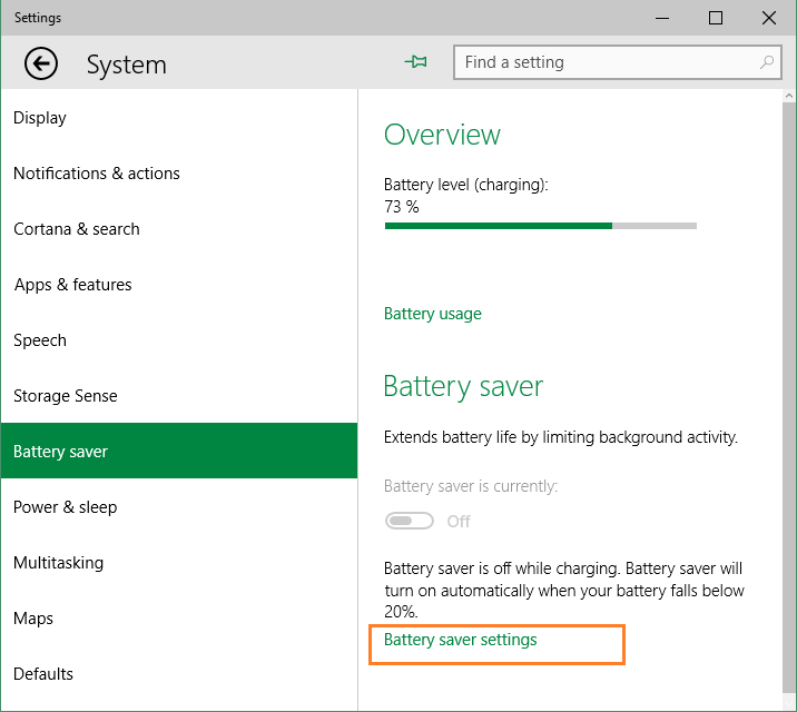 Battery Saver Windows 10 Enable or Disable Picture5