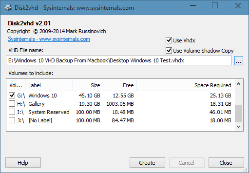 Create vhd from physical Windows 10 drive picture1