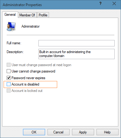 Enable the hidden built in Administrator account in Windows 10 step 6