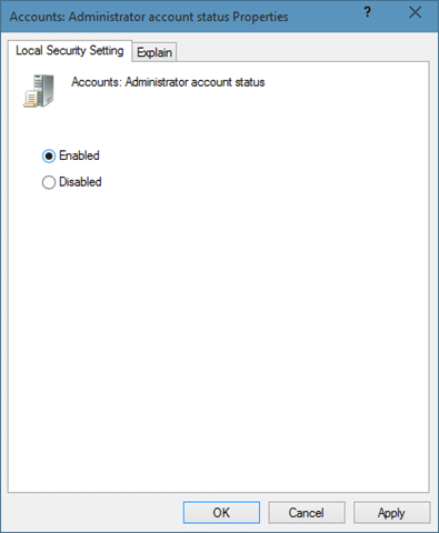 Enable the hidden built in Administrator account in Windows 10 step 8