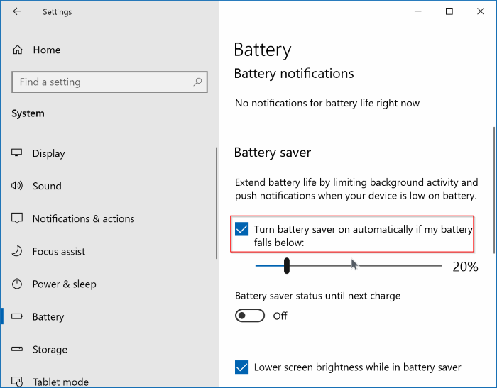 enable or disable battery saver in windows 10 pic2