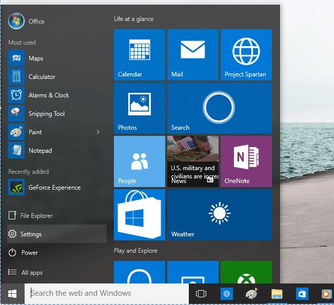 Change the color of Start menu step1